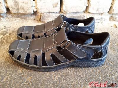 Босоножки сандалии мужские большие размеры кожаные черные Uk0026