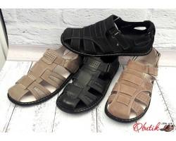 Босоножки мужские кожаные + нубук черные бежевые Uk0158