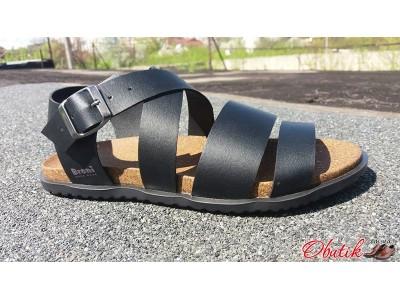 Босоножки мужские Broni кожаные черные бежевые B0013