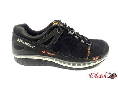 Ботинки мужские Salomon кожа замша осень весна черные синие Sa0004