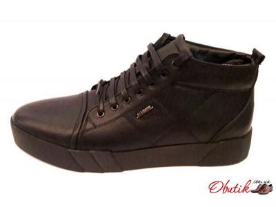 Ботинки мужские Maraton зимние кожаные внутри натуральный мех черные Mar0016