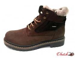 Ботинки мужские зимние натуральный нубук внутри натуральный мех (цигейка) черные коричневые Uk0510