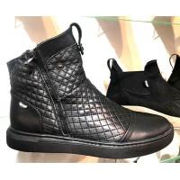 Ботинки мужские Gross зимние орнамент строчка натуральная кожа черные Gr0020