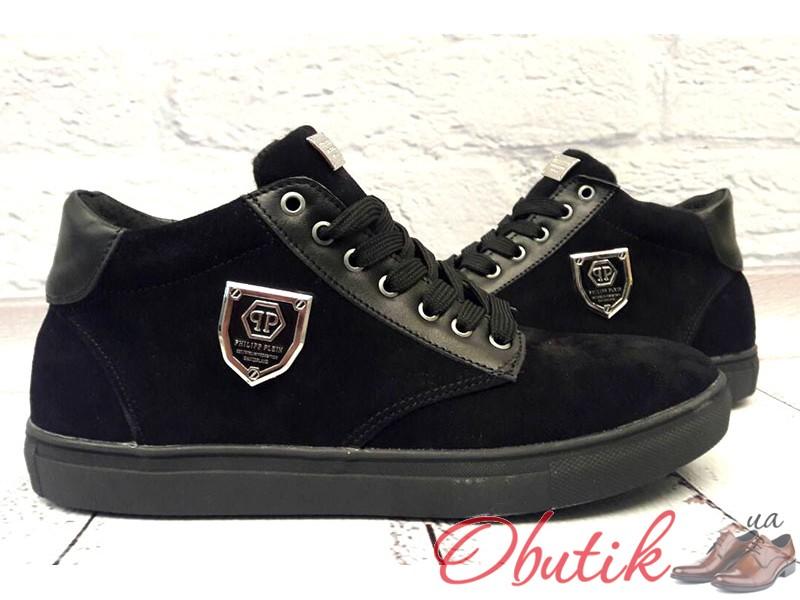 2dc7b8ccc825a Obutik - Осенние ботинки мужские Philipp Plein замша и кожа черные ...
