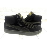 Ботинки мужские Puma весна/осень замшевые черные/рыжие Pu0009
