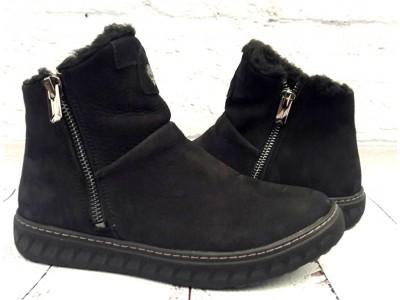 Ботинки мужские Timberland зимние натуральный нубук черные T0034