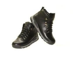 Ботинки мужские зимние на шнуровке натуральная кожа черные Uk0532