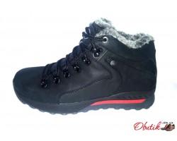 Ботинки мужские зимние натуральные кожаные черные Uk0512