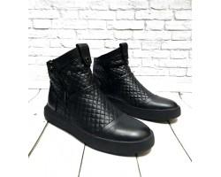 Зимние ботинки мужские GROSS кожаные черные Gr0023