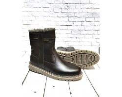 Высокие ботинки мужские зимние кожа черные коричневые Uk0528