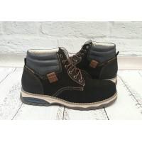 Ботинки мужские зимние Affinity кожа и нубук черные AF0016
