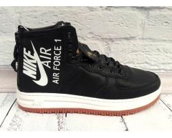 Ботинки мужские зимние Nike экокожа черные/белые Ni0148