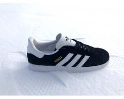 Кеды мужские подростковые Adidas Gazelle замша черные AD0008