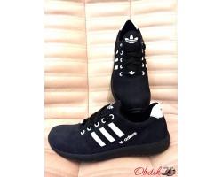 Кроссовки мужские Adidas замшевые натуральные синие черные AD0009