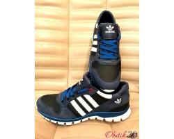Кроссовки мужские Adidas кожа замша черные синие AD0005