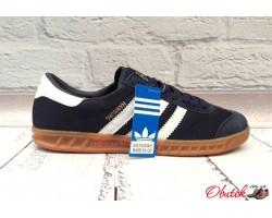 Кроссовки мужские Adidas Humburg замшевые+сетка синие черные AD0036