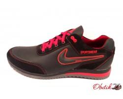 Кроссовки мужские Nike кожаные черные красная синяя желтая отделка Ni0031