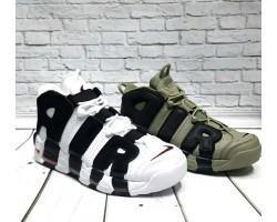 Кроссовки мужские Nike Air More Uptempo кожа зеленые/хаки и белые Ni0160