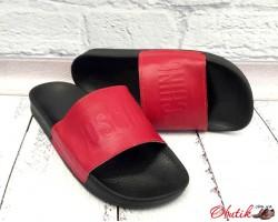 Шлепанцы мужские Moschino кожаные красные AF0004