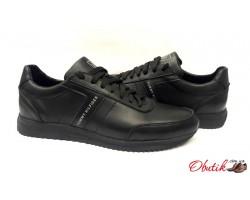 Мужские туфли брендовые Tommy Hilfiger натуральная кожа чёрные TH0009