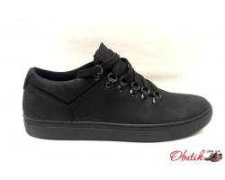 Мужские туфли-слипоны нубук натуральный чёрные Uk0499