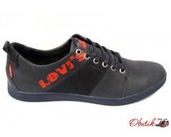 Туфли-слипоны мужские Levis демисезонные кожа нубук черные рыжие Le0008