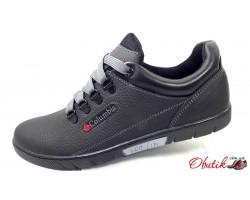 Туфли спортивные мужские Columbia демисезонные кожа черные синие C0030