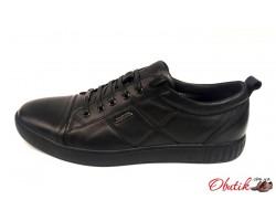 Туфли мужские Maraton весна-осень кожаные черные Mar0019