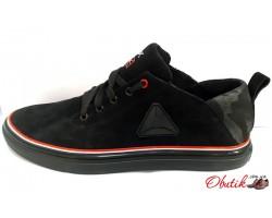 Туфли-кроссовки мужские Reebok кожа замша черные Re0010