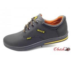 Мужские кожаные туфли ECCO biom чёрные синие на шнуровке E0044