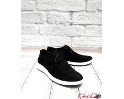 Мужские туфли-слипоны натуральная замша чёрные коричневые Uk0501