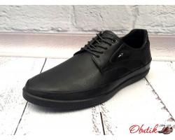Мужские кожаные туфли черные Maraton Украина Mar0010