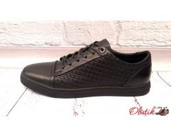 Мужские кожаные туфли Maraton демисезонные черные Mar0004