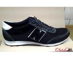3d46a663 Туфли мужские New Balance летние кожаные больших размеров черные синие  NB0002
