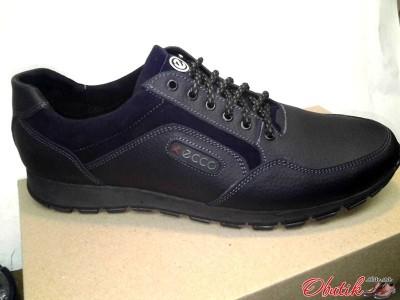 Туфли мужские Ecco летние кожаные больших размеров черные E0005