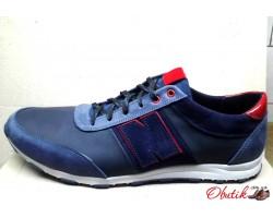 Туфли мужские New Balance летние кожаные больших размеров синие NB0010