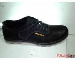 Туфли мужские летние кожаные больших размеров черные C0013