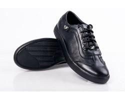 Мужские кожаные+замша туфли на шнурках черные Uk0086