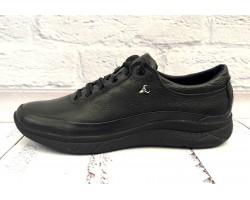 Туфли мужские на шнурках кожаные натуральные черные Uk0008