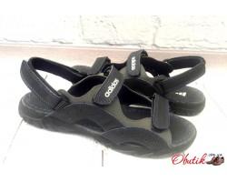 Босоножки подростковые Adidas полностью кожаные черные AD0076