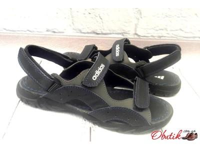 Босоножки подростковые Adidas полностью кожаные черные AD0076.