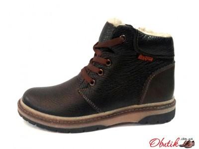 Ботинки подростковые Braxton зимние на замочке кожа натуральная коричневые Br0006