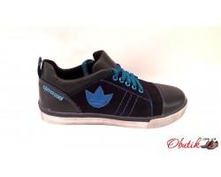 Кеды подростковые Adidas кожа и замша черные AD0017
