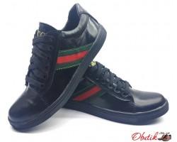 Подростковые туфли кеды Gucci кожаные замшевые черные Uk0033