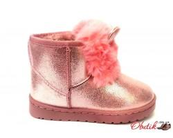 Угги детские экокожа и мех цвет: розовые, серебро KF0485