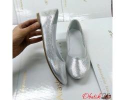 Балетки женские ALLURE натуральная кожа серебро AL0142