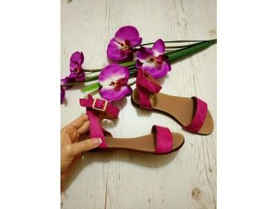Босоножки без каблука женские итальянская замша кожа BM0012