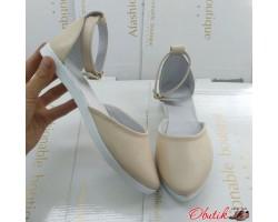 Босоножки балетки женские Allure кожа без каблука бежевые черные AL0166