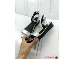Босоножки женские Allure кожа замша без каблука серебро бежевые AL0164