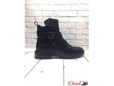 Ботинки женские без каблука демисезонные кожа замша черные Uk0052